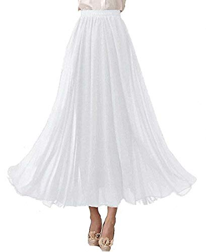 LA ORCHID Laorchid Damen Elastische Taille Maxi Langer Sommerrock Plissee Rock, XL, Weiß