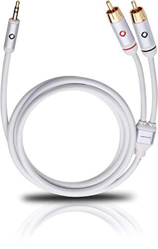 Oehlbach i-Connect Audio Kabel J-35/R - Klinke 3,5 mm auf 2 x Cinch - analog - Stereo - weiß - 1,5m