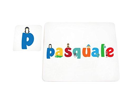Little Helper LHV-PASQUALE-COASTERANDPLACEMAT-15IT Dessous de verre et sets de table avec finition brillante, personnalisés pour garçons, nom de Pâques, multicolore, 21 x 30 x 2 cm