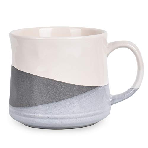 Bosmarlin Large Stoneware Coffee Mug, Big Tea Cup for Office and Home, 21 Oz, Dishwasher and Microwave Safe, 1 PCS (Geometry-Grey)