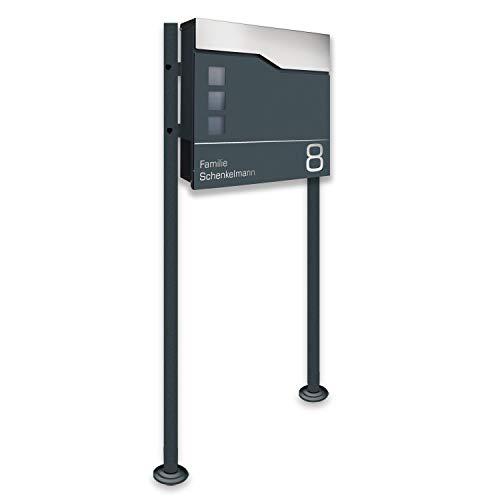 Zalafino Briefkasten incl. Standfuß freistehend in anthrazit - individualisierbarer Design-Briefkasten aus pulverbeschichtetem Stahl mit Zeitungsrolle, Sichtfeldern und Standfuß (Toppy4)