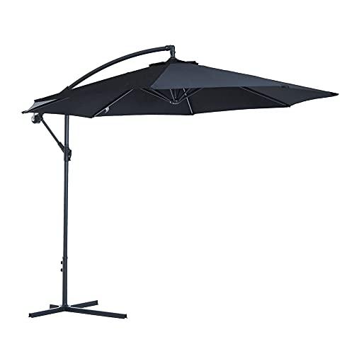 Outsunny 3 m Garden Parasol Sun Shade Patio Banana Hanging Umbrella Cantilever with Crank Handle Plus 8 Ribs and Pole - Black