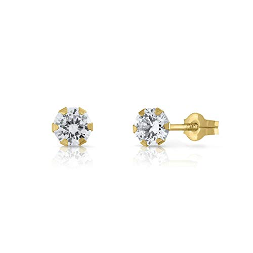 Sterling Gold Certified Earrings, Girls, Women's Quality Snap Closure, Size 5 mm (4-3351-5)