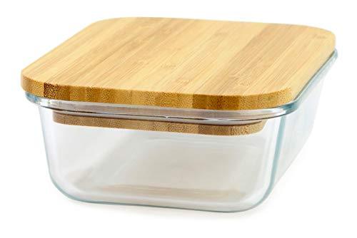 Yoko Design płaski szklany blat 1400 ml z pokrywką bambus