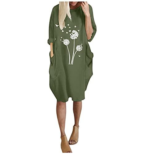 Harpily Mujeres Cuello Redondo Mujer Sudadera Tops Chaqueta Suéter Jersey Mujer Otoño Invierno Talla Grande Hoodie Sudadera Suelto Sólido Manga Larga con Capucha Tejido (Verde, L)