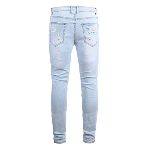 KEERADS- Jean Dechire Homme Stretch Denim Pants en Déchiré Slim Fit Pantalon Patchwork Pocket Sweatpant Travail Hiphop Cargo Sweatpants