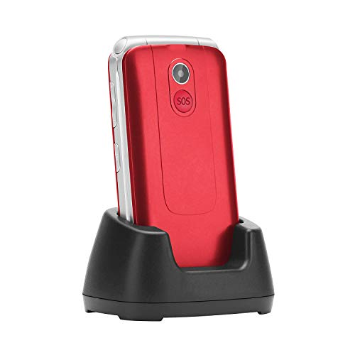 Flip Phone Unlocked, Uleway 2.8'' Large Screen Big Button Emergency Key Charging Dock 3G WCDMA Cell Phone for Elderly (Red)