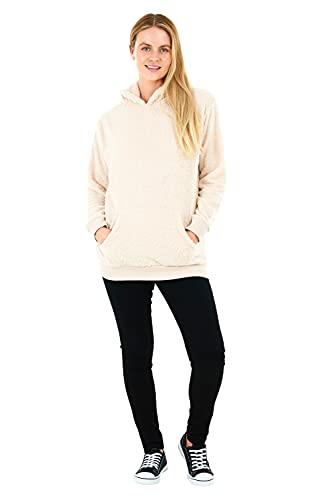 Sleepdown Damska damska bluza z kapturem z pluszowym polarem bluza z kapturem pulower puszysty ciepły miękki przytulny sweter, naturalny, L