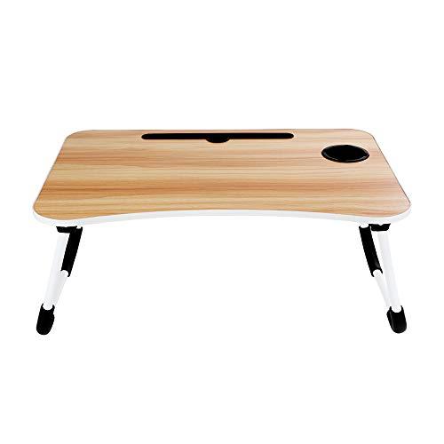 Tavolo per computer portatile, Tavolino da letto, Pieghevole, Per lettura, Scrivania o come vassoio per la colazione per letto e divano (Marrone)
