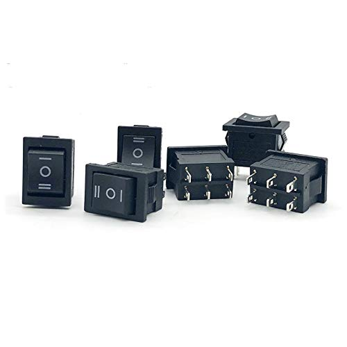 YSJSPKK Wippschalter 10pcs Druckknopfschalter 15 * 21mm 3 Position 6 Pins kleine Schwarze KCD1 ON-Off-ON Boot Wippenschalter 6A / 250VAC 10A / 125 V AC