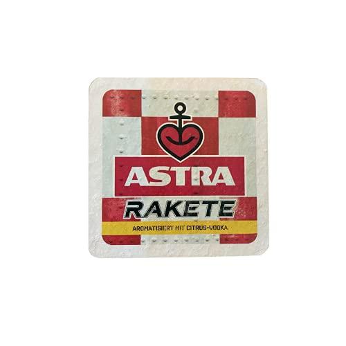 ASTRA Bier Naturstein Untersetzer Bieruntersetzer Bierdeckel mit Original Astra-Etiketten, Geschenkidee aus St. Pauli (Rakete)