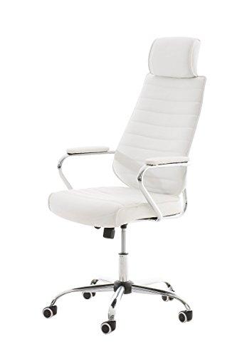 Mendler Poltrona Ufficio CP298 Ecopelle Design Moderno 57x59x117x128cm ~ Bianco
