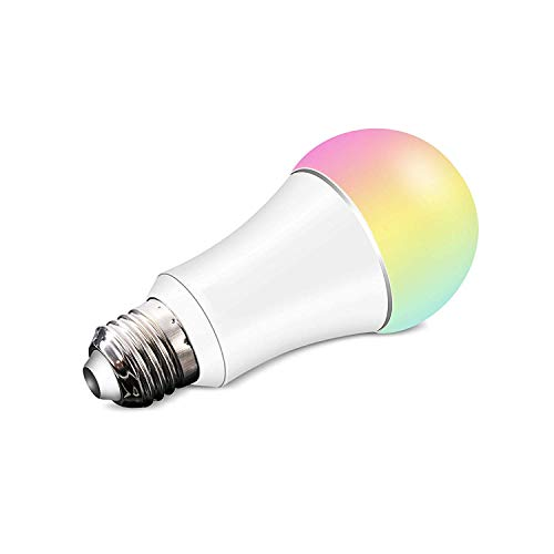 Jinvoo Wi-Fi Smart LED Light Bulb, Dimmable Multicolored Color, 6W E27, No Hub Required, Compatible with Alexa Echo, Compatible with Alexa & Google Home