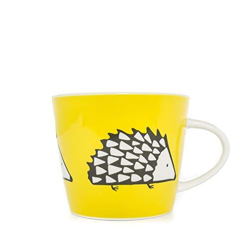 Taza de Desayuno decoración erizo., Color Negro y Amarillo.