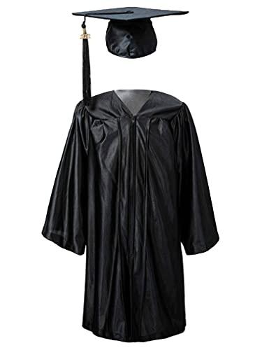 Freebily Toga Birrete de Graduación Niños Infántil Primaria Estudiantes Disfraz Doctor Graduación con Gorro Sombrero Negro 5-6 años
