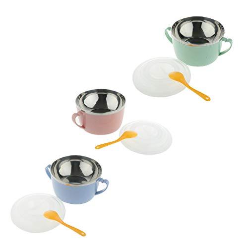 Gazechimp - 3X Ciotola in Acciaio Inossidabile per Bambini, Macedonia, Cucchiaio con Coperchio per Cena for