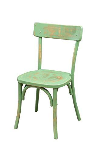 Biscottini Stuhl Thonet aus massivem Eschenholz und Rattan-Sitzfläche in antikem Grün L48 x PR55 x H88 cm