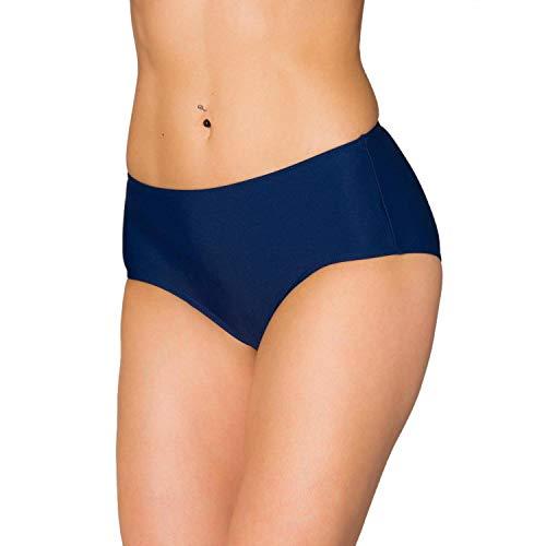 Aquarti Damen Bikinihose mit Mittelhohem Bund, Farbe: Dunkelblau, Größe: 40