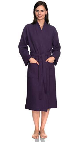 towelselections Mujer de albornoz, albornoz de Kimono de Spa de lino, hecho en Turquía -  Púrpura -