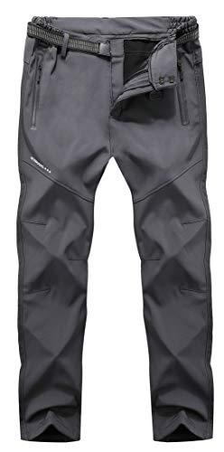 Men's Soft Shell Waterproof Winter Snow Ski Snowboarding Pants Fleece Cargo Hiking Pants