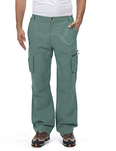 Little Donkey Andy Men's Quick Dry UPF 50+ Cargo Pants, Stretch Lightweight Outdoor Hiking Pants Sage XXL