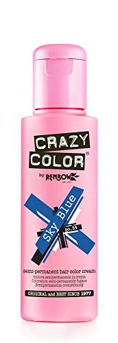 Renbow Crazy Color Semi-Permanent Hair Color Dye sky blue 59-100 ml, 1er pack (1 x 115 g)