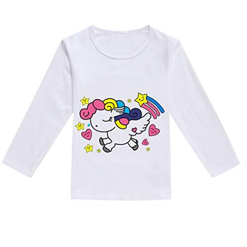 Sunenjoy Bébé Fille Garçons T-Shirt Manche Longue Huat Dessin Imprimé Haut Décontractée Mode vêtements Tenues 1-5 Ans (12-18 Mois, Rose Vif)