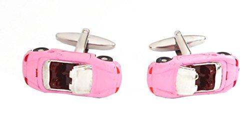 Unbekannt Manschettenknöpfe Sportwagen Cabrio sportliches Auto silbern rosa pink dunkerot + schwarzer Exklusivbox