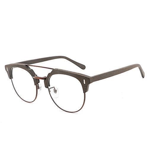 WSDSX Gafas de sol Gafas de sol Gafas lisas Gafas de placa de madera hechas a mano Montura de gafas Moda vintage Gafas de madera casuales Gafas de moda (Color: 03Black, Size: Free)