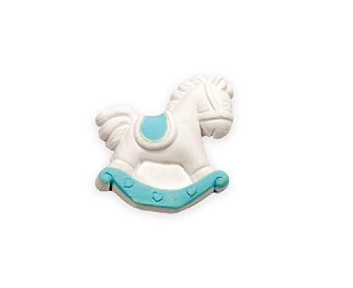 IRPOT - 30 GESSETTI Bianchi Decorativi per BOMBONIERA + BIGLIETTINI (Cavallo A Dondolo Celeste A2184-04)