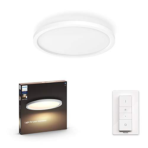 Philips Hue White Ambiance Aurelle Plafoniera Smart LED Smart, con Bluetooth, 24,5W, Rotonda, Bianco, con Telecomando Dimmer Switch Integrato