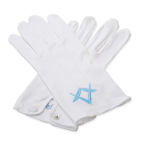 Masonic Craft Wit 100% Katoen Handschoenen met Craft Blue Sq & kompas