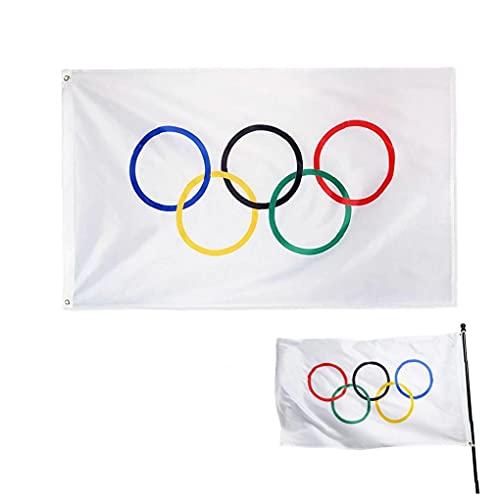 TongICheng Olympia Spiel Flagge, 90x150cm fünf olympischen Ringe Banner, doppelt vernähte-Team Banner Mit Messingösen
