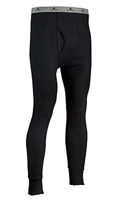 Indera Men's Cotton Waffle Knit Heavyweight Thermal Underwear Pant, Black, Large