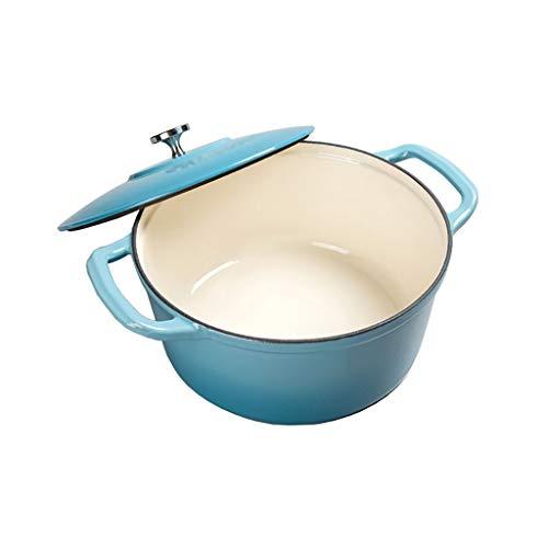 Xin Hierro Fundido con la Tapa del asador, Ø 28 cm, Ronda, Apto for Todo Tipo de cocinas y de inducción, Volumen: 6 L (Color : A)