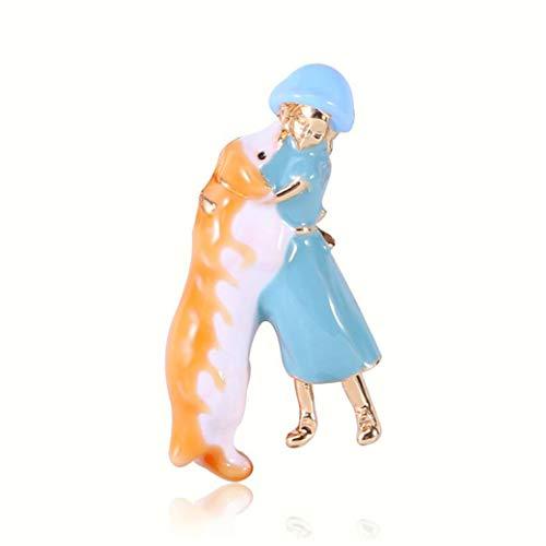 HBWHY Broche de bebé con diseño de animal, esmaltado, con diseño de animales, ideal para camisas, mujeres, niñas, accesorios de regalo, 5,1 x 2,5 cm, color azul