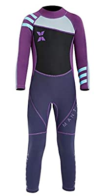 DIVE & SAIL Kids Swimwear Long Sleeve Wetsuit One Piece Full Suit Sun Protective Thermal Swimsuit Diving Swimming Suit Purple L