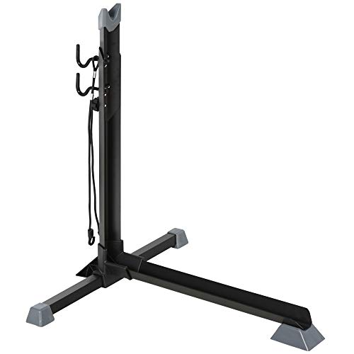 HOMCOM Soporte para Colocar Bicicleta en Vertical Caballete de Bicicleta Ajustable en Altura con Correa de Fijación Fácil de Transportar Soporta 30 kg 66x56x63-73,5 cm Negro