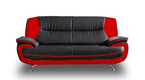 Sofa Onyx 3-Sitzer Kunstledersofa Couch Farbauswahl (schwarz-rot)