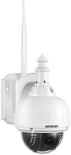 Dericam Outdoor WiFi IP Security Camera, PTZ Camera, 4X Optical Zoom, Auto-Focus, 1.3 Megapixel, No SD Card Pre-Installed, S1-N (No Card) White