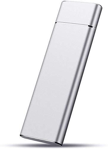 Disco duro externo de 1 TB para disco duro externo portátil USB 3.1 para PC, Mac, escritorio, ordenador portátil (1 TB, Silver)