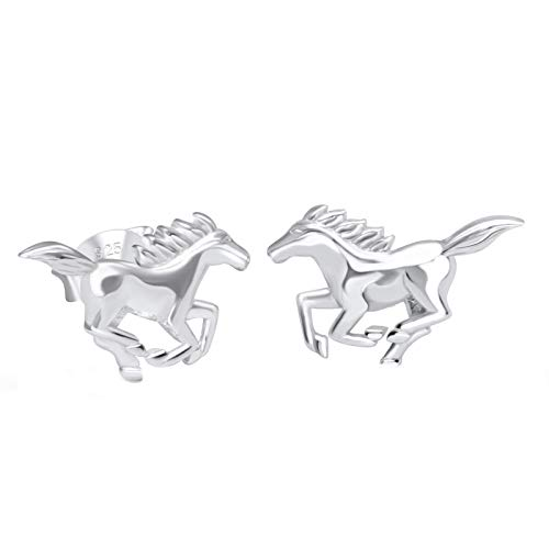 FIVE-D - Orecchini a perno a forma di cavallo pony, in argento 925 e Argento, colore: argento, cod. SL-ohrs380-V