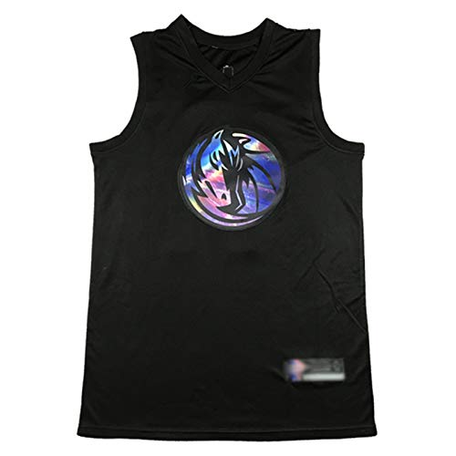 XIAOXU Camiseta De Baloncesto Dončić para Hombre # 77 Mavericks, Deporte para Hombre Top Bordado Números Letras Múltiples Opciones S-2XL Black-M