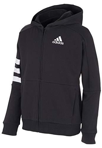adidas Boys' Zip Up Hoodie (Medium, Black 3-Stripe)