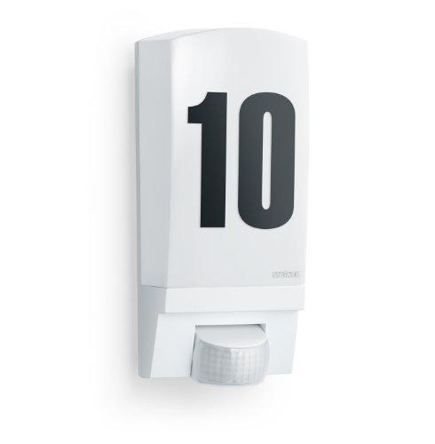 Steinel Wandleuchte L 1 weiß, Inkl. Hausnummer, E 27, Max.60 W, Wandleuchte außen, 180° Bewegungsmelder, 10 m Reichweite