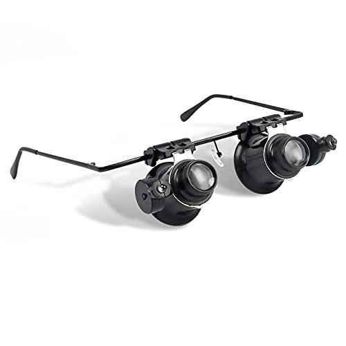 AORAEM Watch Repair Glasses Magnifier,Microscope Glasses with Light 20X Jeweler Magnifiying Glasses for Electronics Repair Miniature Engraving(Black)