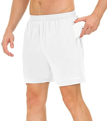 Cakulo Men's Running Shorts 5 Inch Lightweight Quick Dry Athletic Wokrout Gym Training Performance Jogging Tennis Soccer Shorts with Pockets Liner White XL