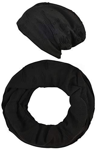 Intermoda Beanie Loop Set Schal Mütze Damen Herren Unisex Jersey leicht Schwarz Vintage Lochmuster