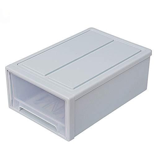 RRTY Hogar plástico transparente apilable tipo cajón ropa caja de almacenamiento ropa interior calcetines organizador Snacks Sundries contenedor (azul)