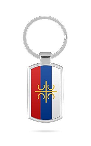 Schlüsselanhänger mit Gravur Wunschtext Name Serbien Fahne cccc